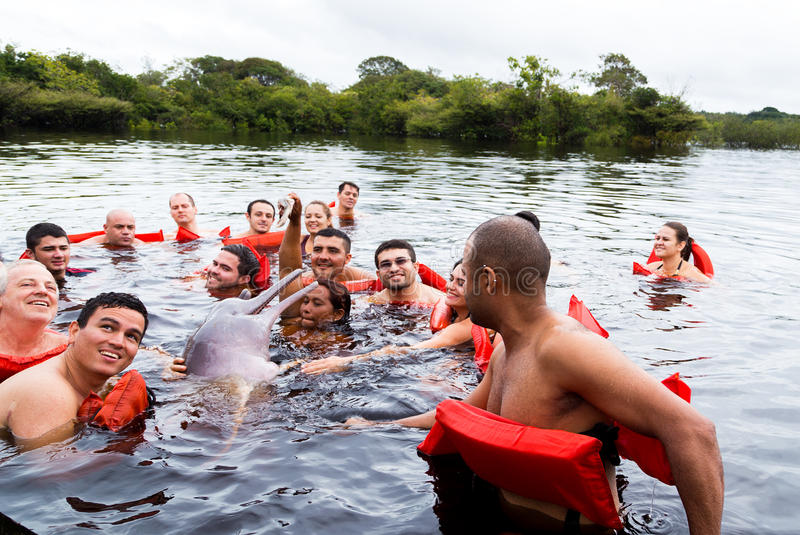 People feeding the famous Pink Dolphin (Boto Rosa) in Amazon, Brazil stock image