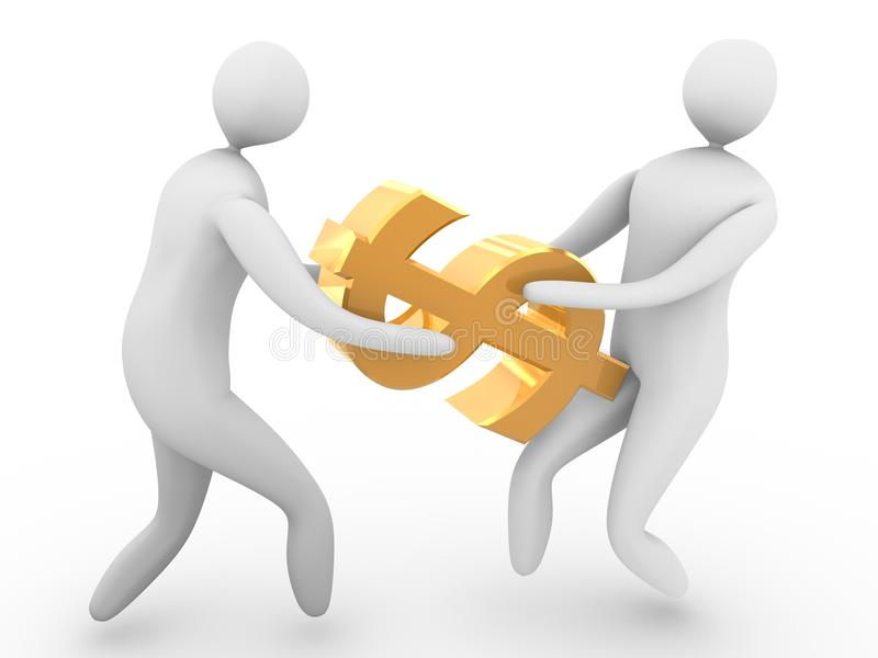 People fighting over dollar. Three dimensional illustration of two people pulling gold dollar sign in opposite directions, isolated on white background