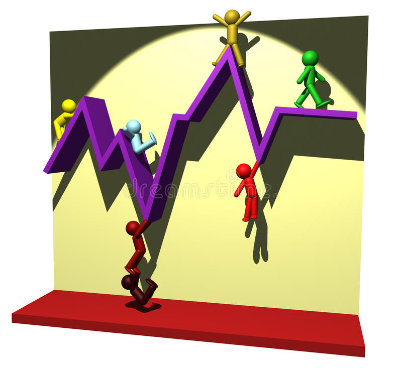 People figures on the development chart line. 3D illustration of peoples on the chart line vector illustration