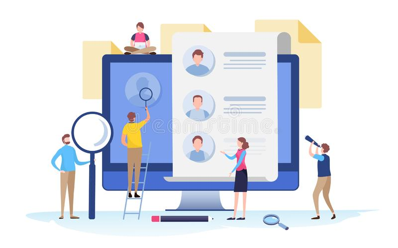 People fill out a form. Online application. survey, interview, job. Cartoon miniature illustration vector graphic. On white background stock illustration