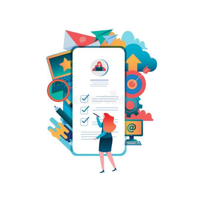 People fill out a form. Online application. Women, Female Flat cartoon character graphic design. Landing page,banner,flyer,poster. Web page vector illustration
