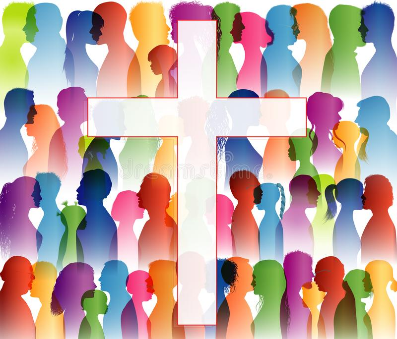 People finding Christianity. Crowd of believing people. People at the cross. Believers who pray. Group of people. Christian Church royalty free illustration