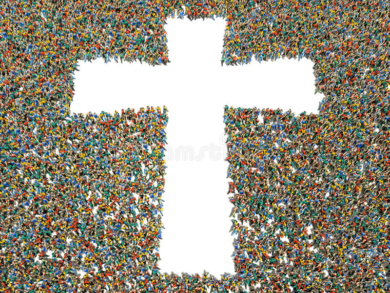 People finding Christianity, religion and faith. stock illustration