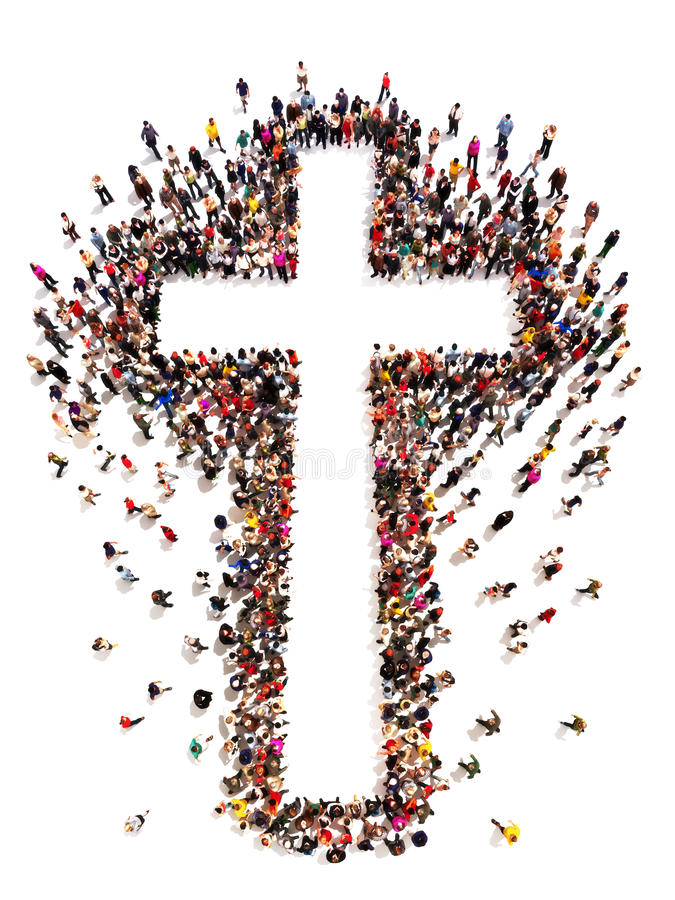 People finding Christianity,. Religion and faith. Large crowd of people walking to and forming the shape of a cross on a white background with room for text or stock illustration