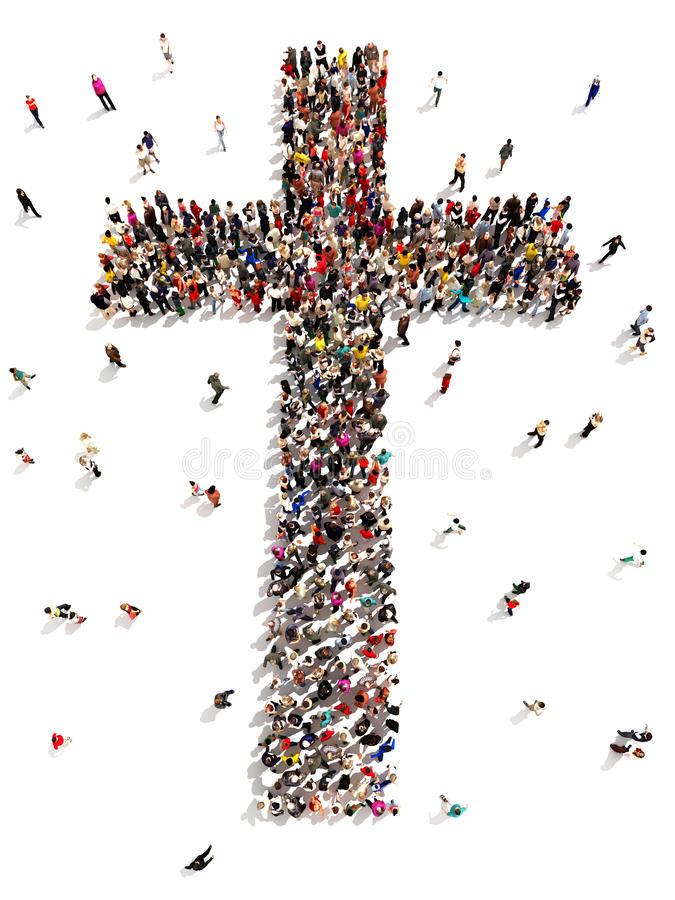 People finding Christianity, religion and faith. Large group of people walking to and forming the shape of a cross on a white background royalty free illustration