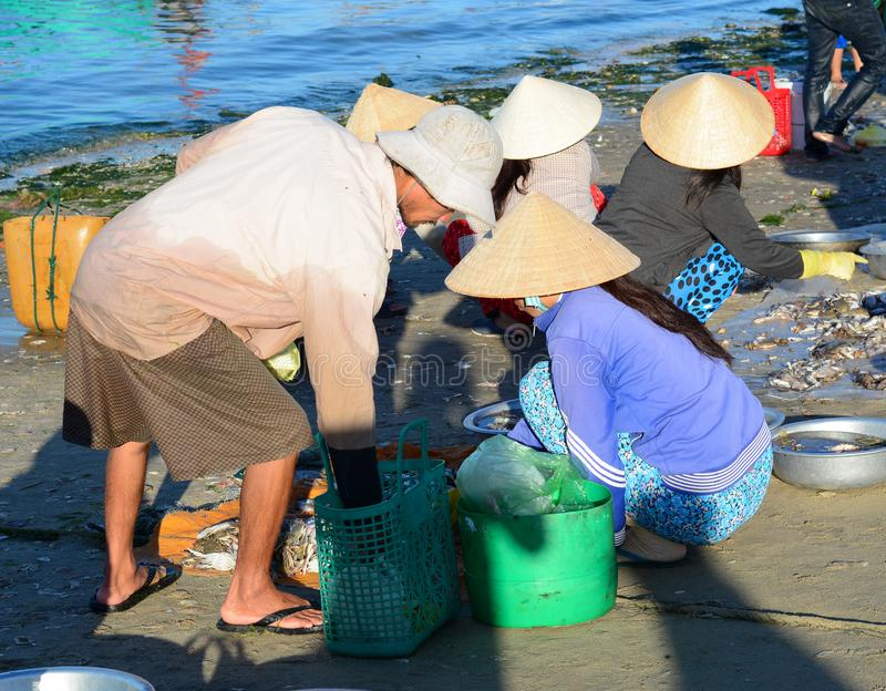 People at the fish market in Phan Thiet, Vietnam royalty free stock images