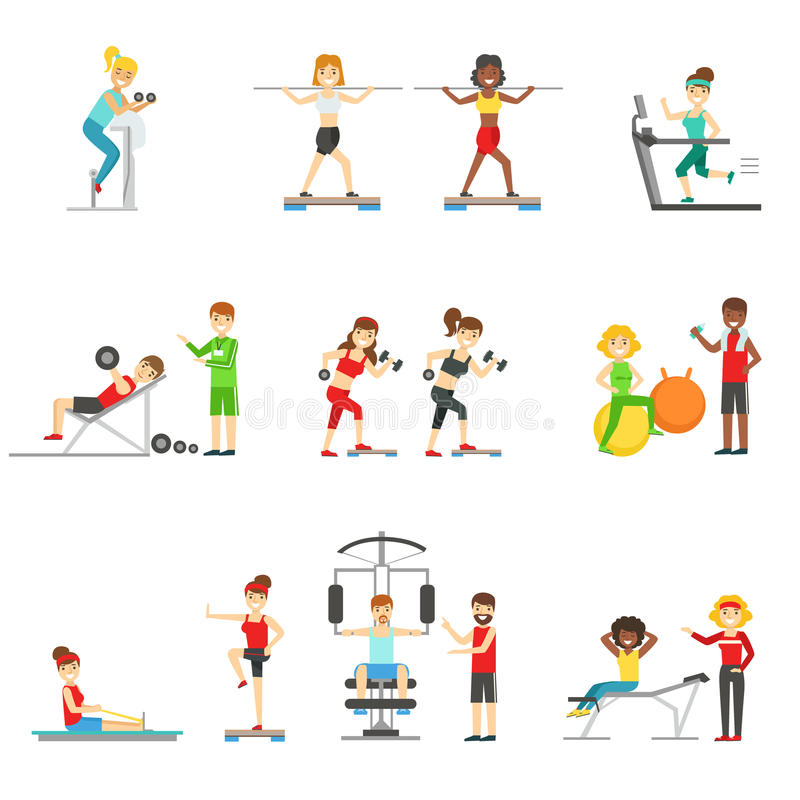 People In Fitness Center Exercising Under COntrol Of Personal Trainer. Set of Colorful Primitive Flat Illustrations With Smiling Happy People Working Out stock illustration