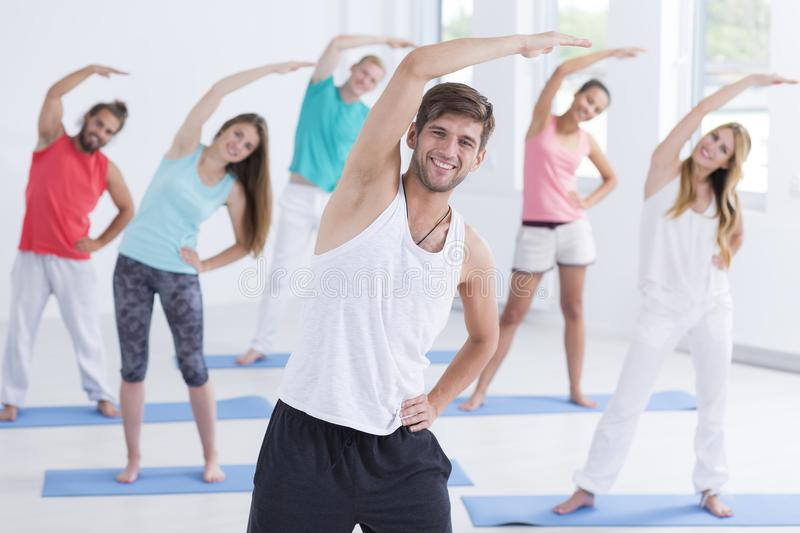 People in fitness studio royalty free stock photography