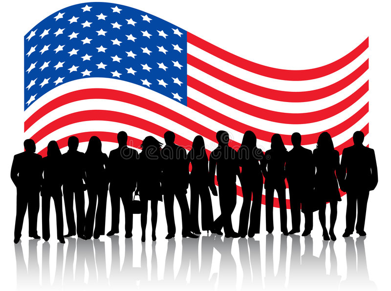 People and flag vector illustration