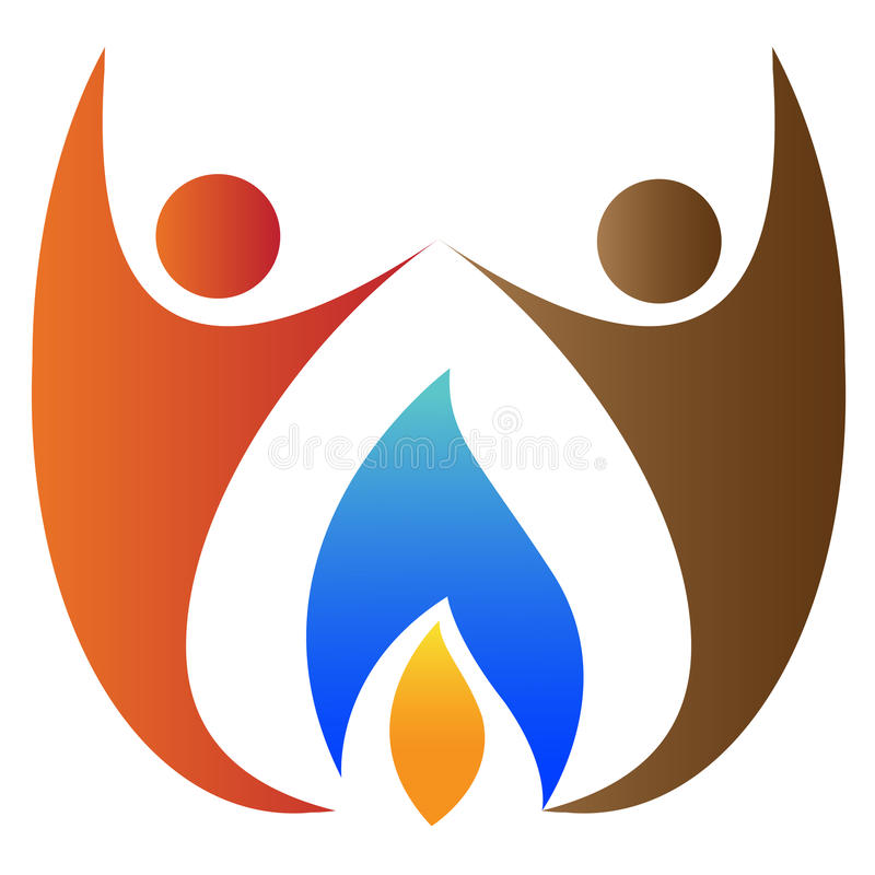 People with flame logo. Illustration of people with flame design isolated on white background royalty free illustration