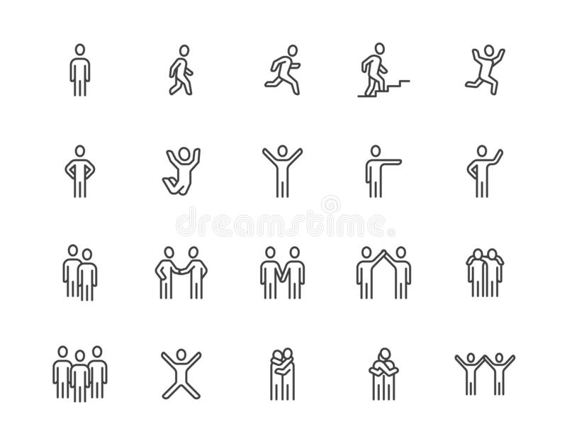 People flat line icons set. Person walking, running, jumping, climbing stairs, happy man, company leader, friends hugs stock illustration
