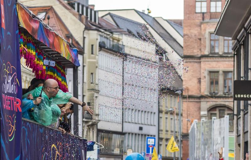 People on a float attending the Gay Pride parade also known as Christopher Street Day CSD in Munich, Germany. 2019: People on a float attending the Gay Pride royalty free stock photos
