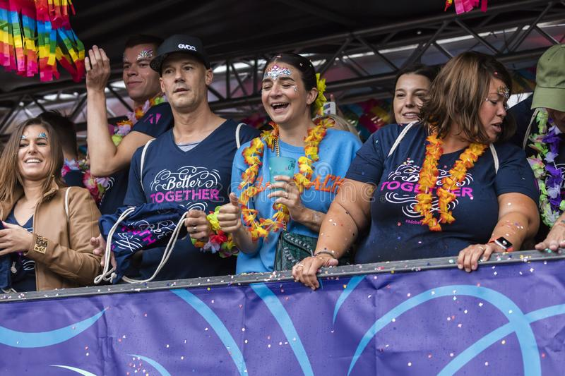 People on a float attending the Gay Pride parade also known as Christopher Street Day CSD in Munich, Germany. 2019: People on a float attending the Gay Pride royalty free stock images