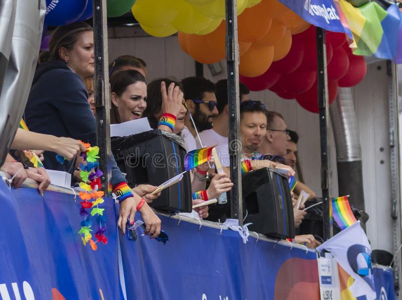 People on a float attending the Gay Pride parade also known as Christopher Street Day CSD in Munich, Germany. 2019: People on a float attending the Gay Pride stock photos