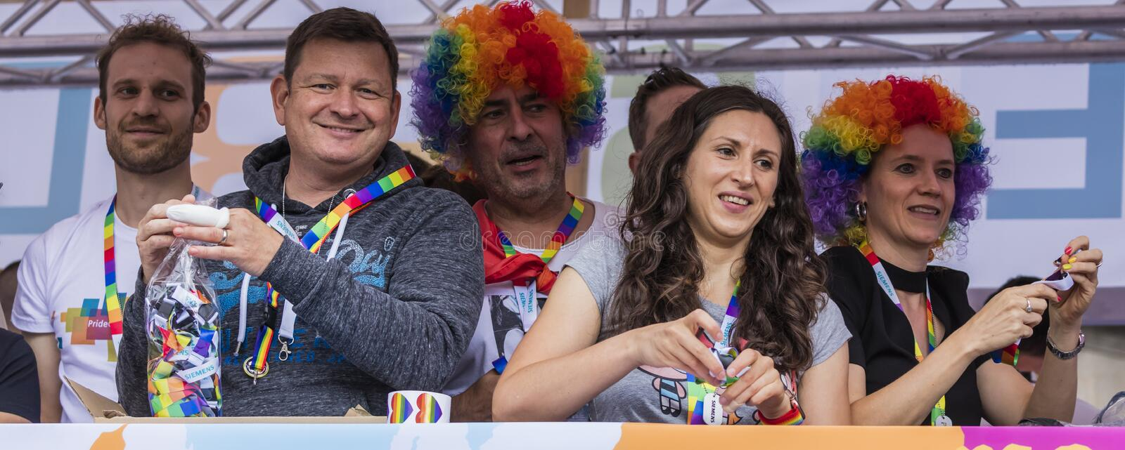 People on a float attending the Gay Pride parade also known as Christopher Street Day CSD in Munich, Germany. 2019: People on a float attending the Gay Pride royalty free stock image