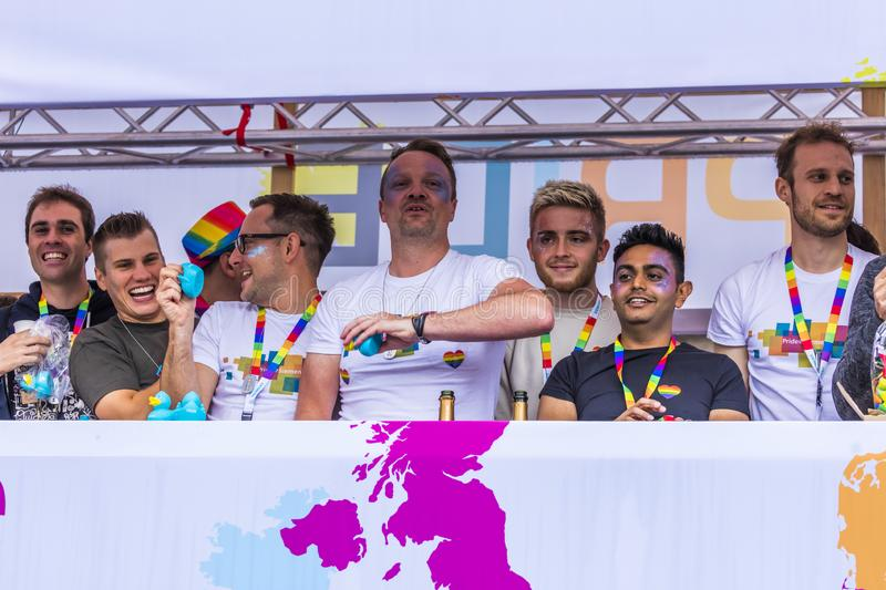 People on a float attending the Gay Pride parade also known as Christopher Street Day CSD in Munich, Germany. 2019: People on a float attending the Gay Pride stock image