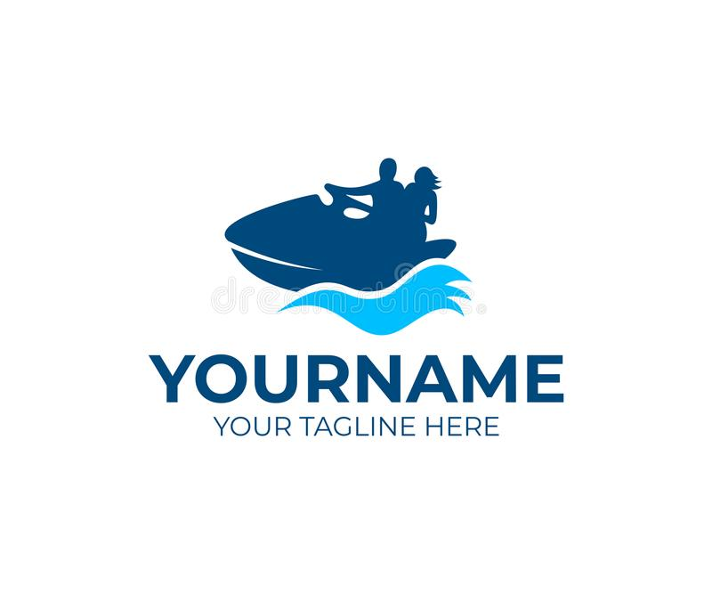 People are floating on jet ski or water scooter, logo template. Vacation, travel and sea, vector design stock illustration