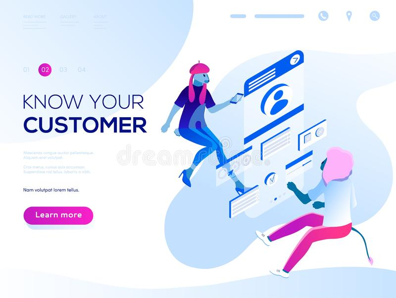 People fly and build a customer stock illustration