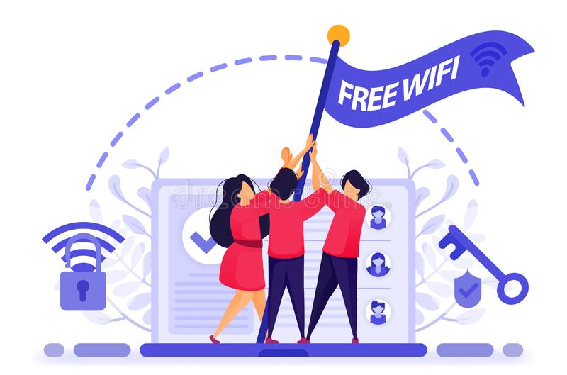 People fly flag for protest to get free internet or wifi access with maximum security. key to break into firewall protection to ge royalty free illustration