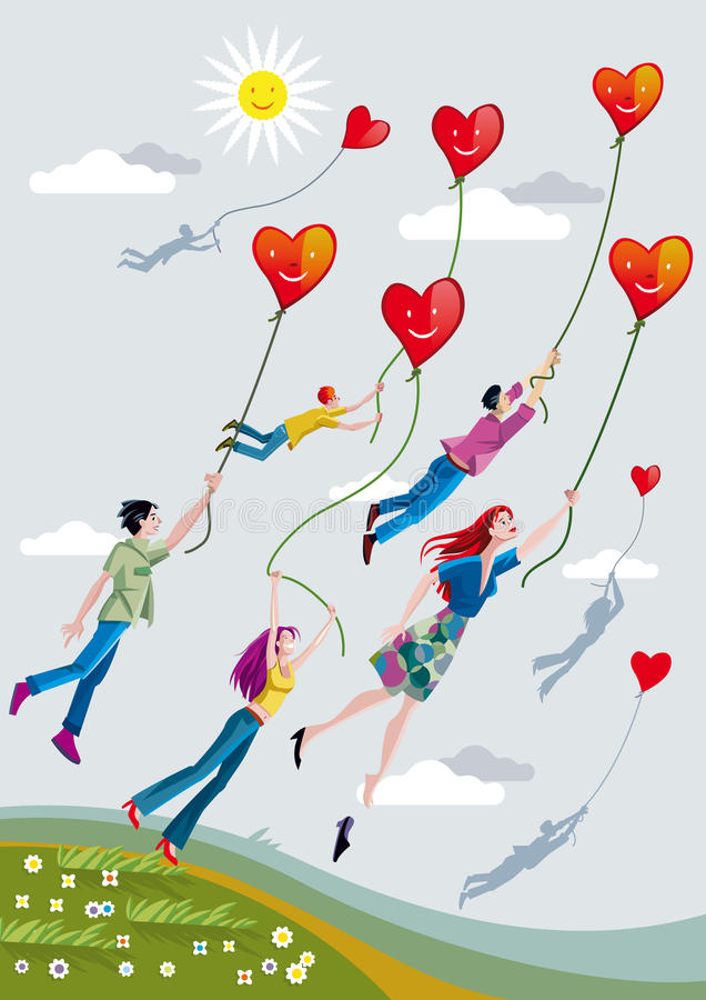 Download People Flying With Hearts stock vector. Illustration of field - 24857824