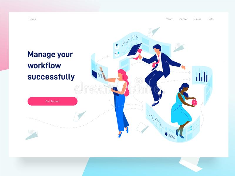 People flying and interacting with graphs and papers. Business and workflow management. Landing page template, vector. People flying and interacting with graphs royalty free illustration