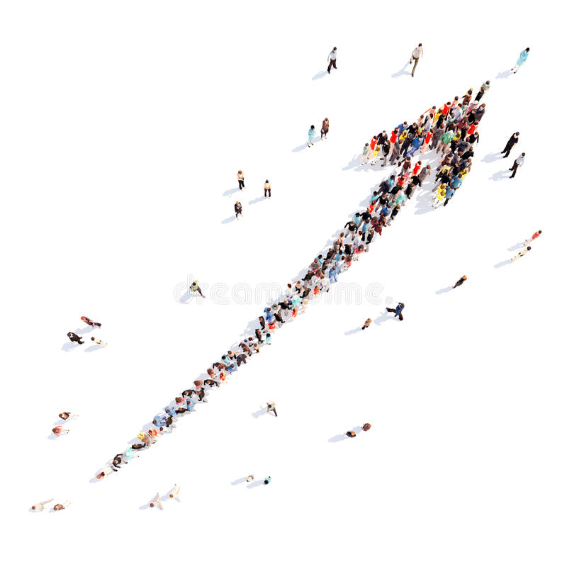 People in the form of arrows stock illustration