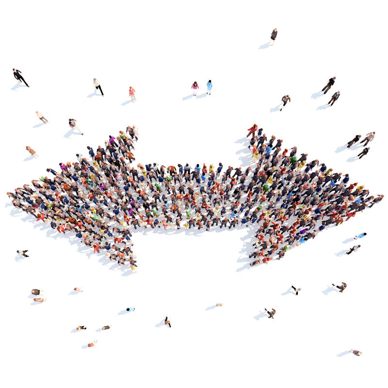 People in the form of arrows. A large group of people in the form of arrows. Flashmob, isolated, white background stock illustration