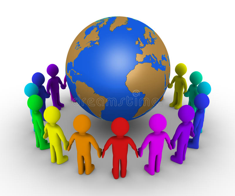 Download People Form A Circle Around Earth Stock Illustration - Image: 30424683