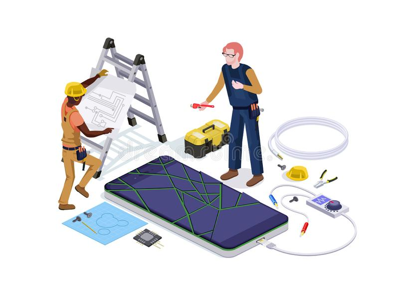 People in the form of mobile phone repair service workers do screen diagnostics and replacement 3d isometric vector illustration d vector illustration