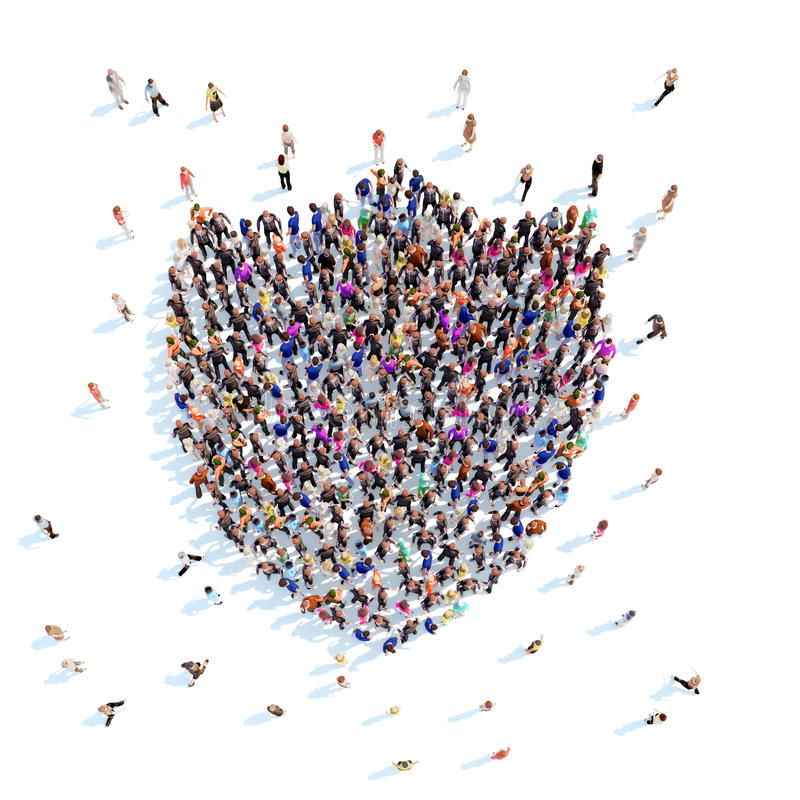 People in the form of a shield. A large group of people in the form of a shield. White background vector illustration