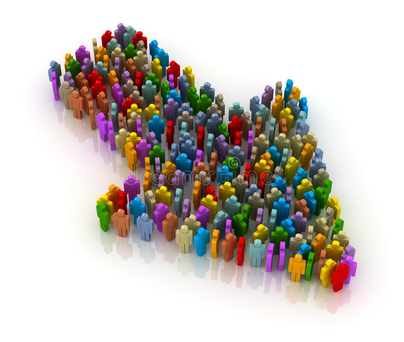 People form up in arrow stock illustration