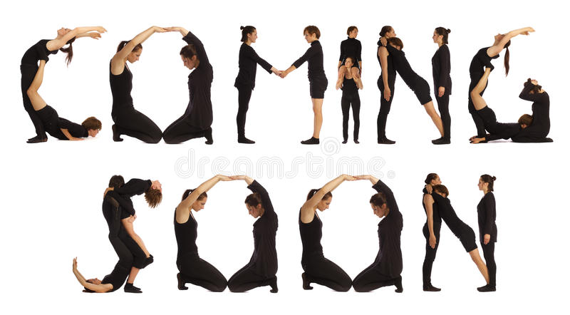 People forming HEALTH word over white background stock photos