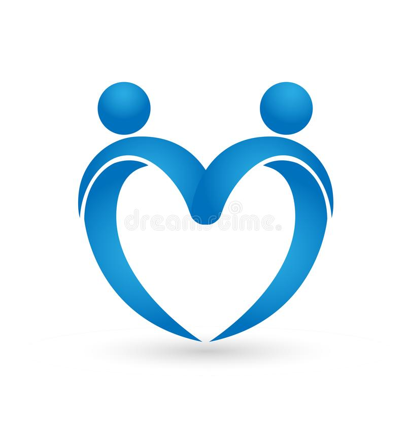 People forming a heart concept vector logo vector illustration