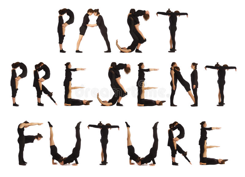 People forming PAST PRESENT FUTURE. Black dressed people forming PAST PRESENT FUTURE word over white background stock photos