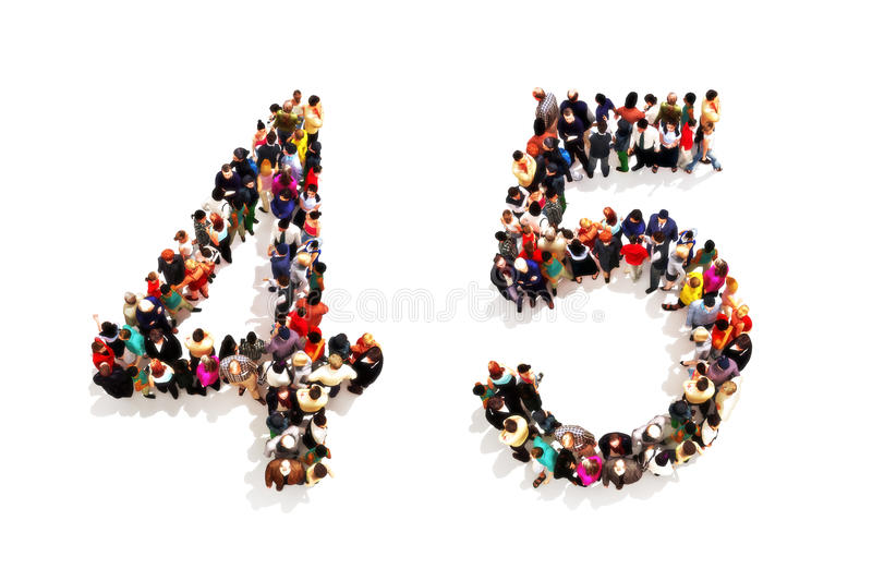 People forming the shape as a 3d number four (4) and five (5) symbol on a white background. stock illustration