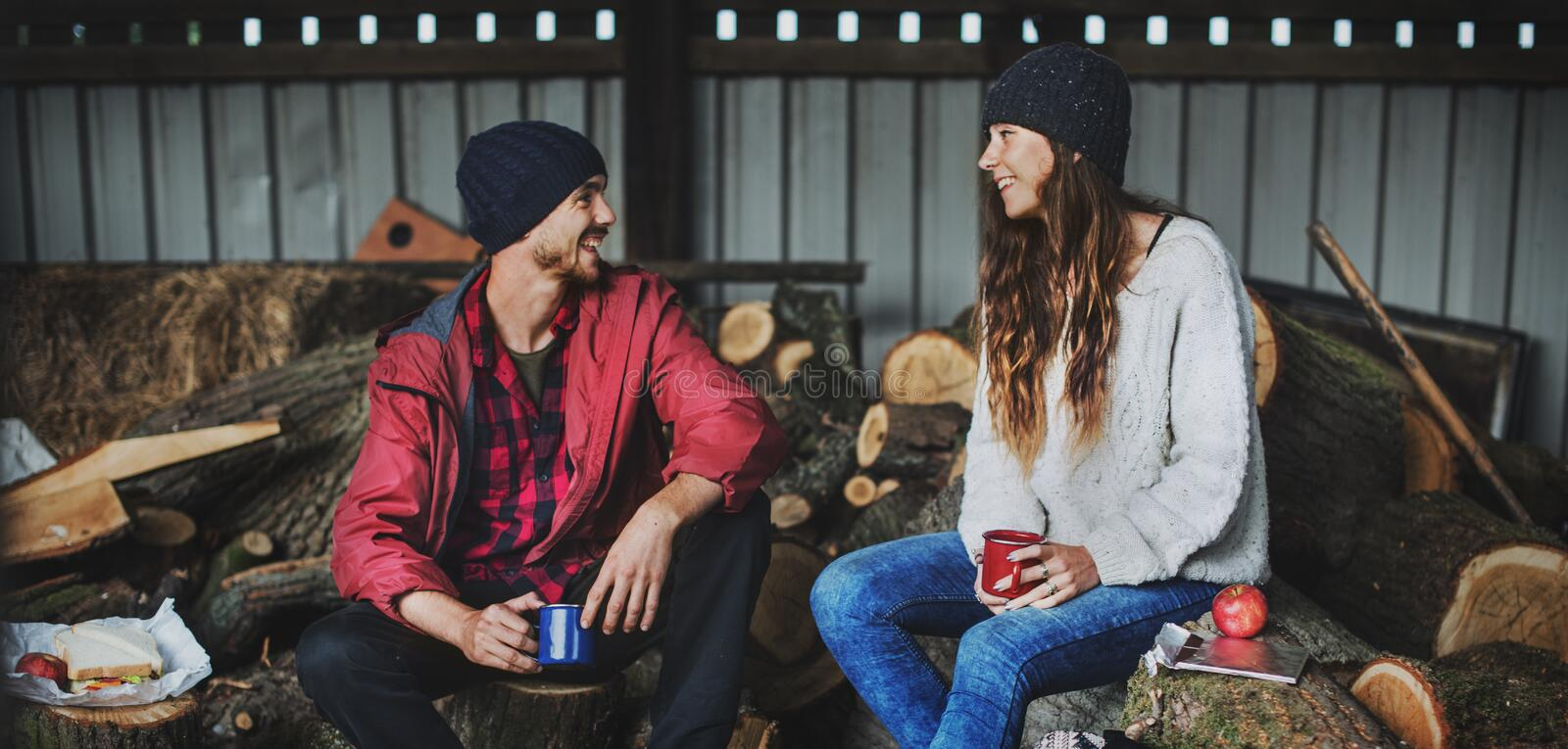 People Friendship Camping Sawmill Relaxation Togetherness Concept royalty free stock images
