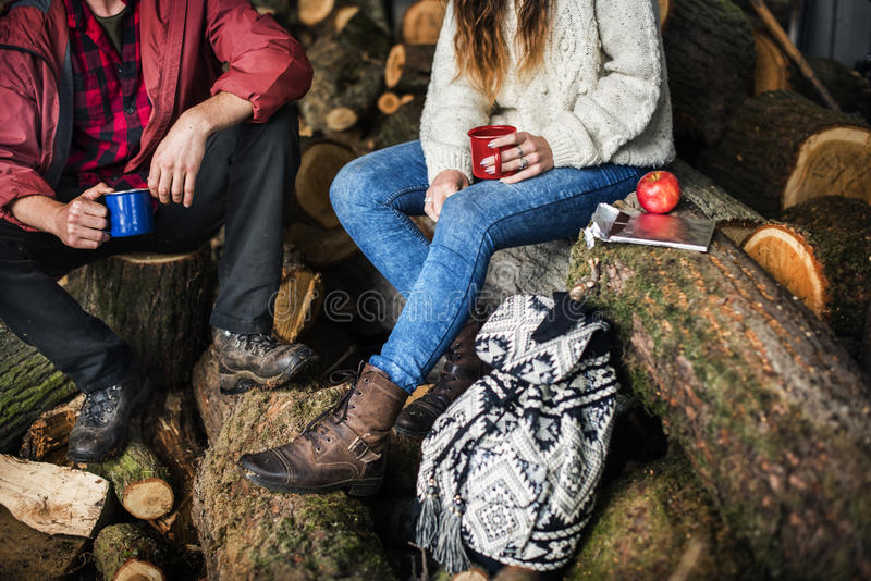 People Friendship Camping Sawmill Relaxation Togetherness Concept stock images