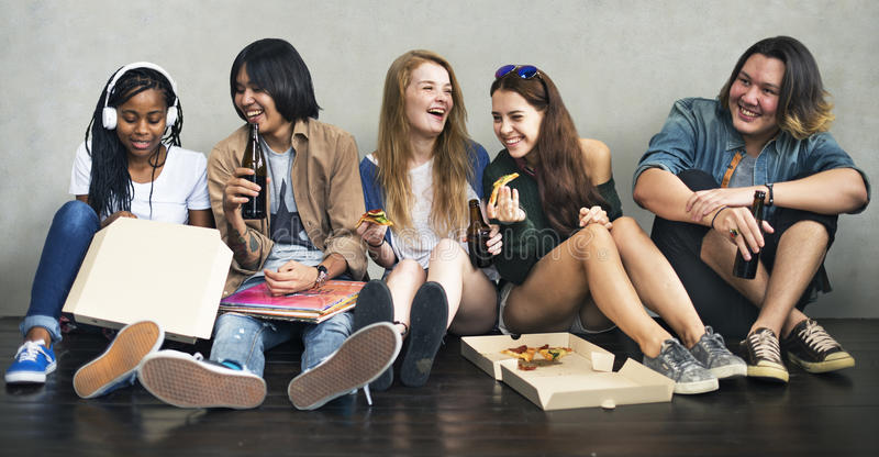 People Friendship Togetherness Pizza Activity Youth Culture Concept stock images