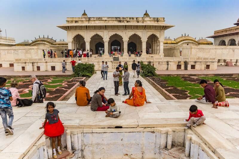 People in front of the Anguri Bagh building in the Red Fort of Agra royalty free stock images