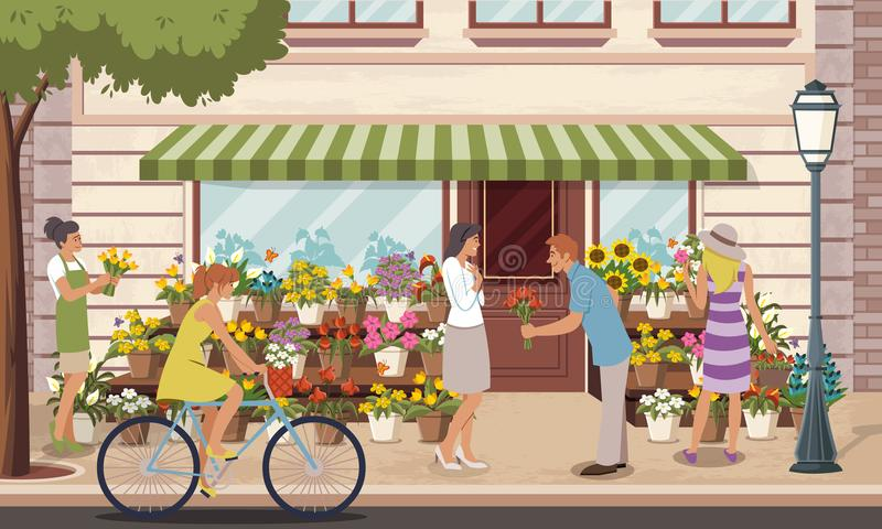 Colorful flower shop. royalty free illustration