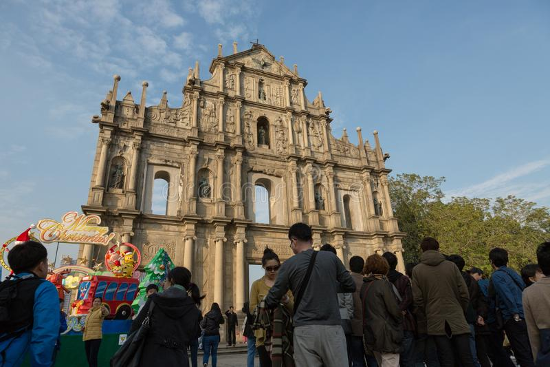 People in front of famous Ruins of St. Paul`s Church royalty free stock photo