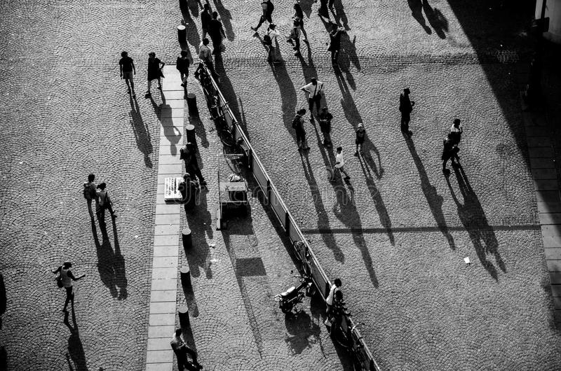 People in front at Pompidou Center royalty free stock image