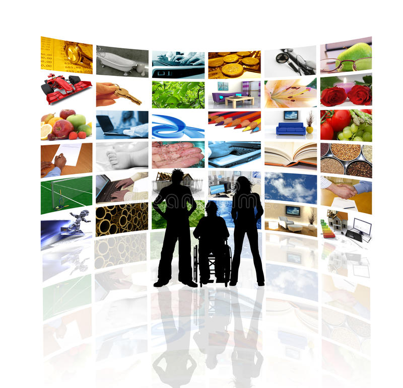 People in front of wall of tv screens royalty free illustration