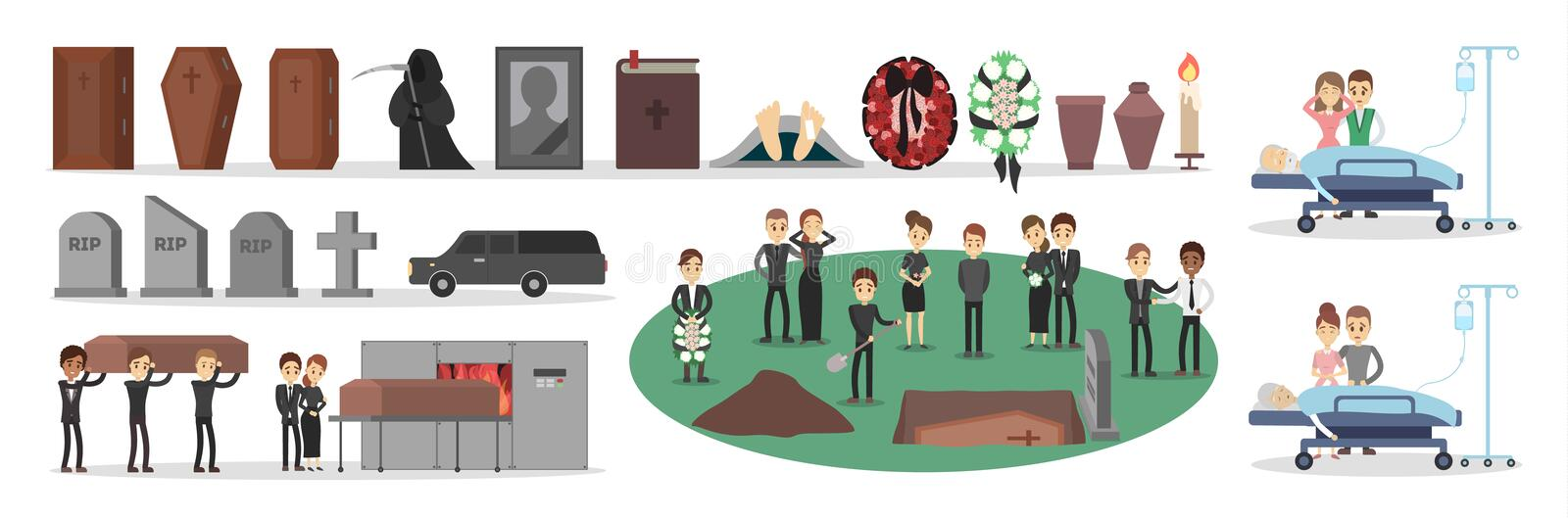 People at funeral set. Burying coffin, burning the body stock illustration