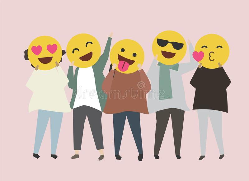 People with funny and happy emojis illustration royalty free illustration
