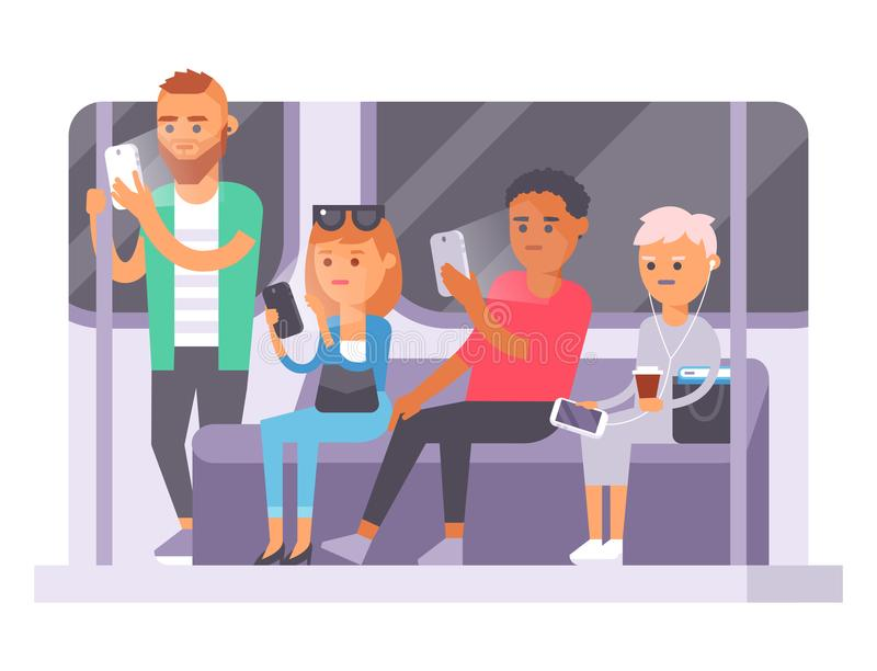 People and gadgets concept. Busy person smart phone social communication lifestyle. Online social network modern life. People and gadgets internet technology royalty free illustration