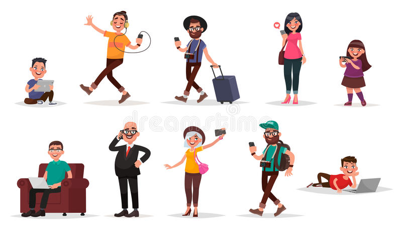 People and gadgets. Set of children, youth and adults with their. Mobile devices. Vector illustration in cartoon style stock illustration