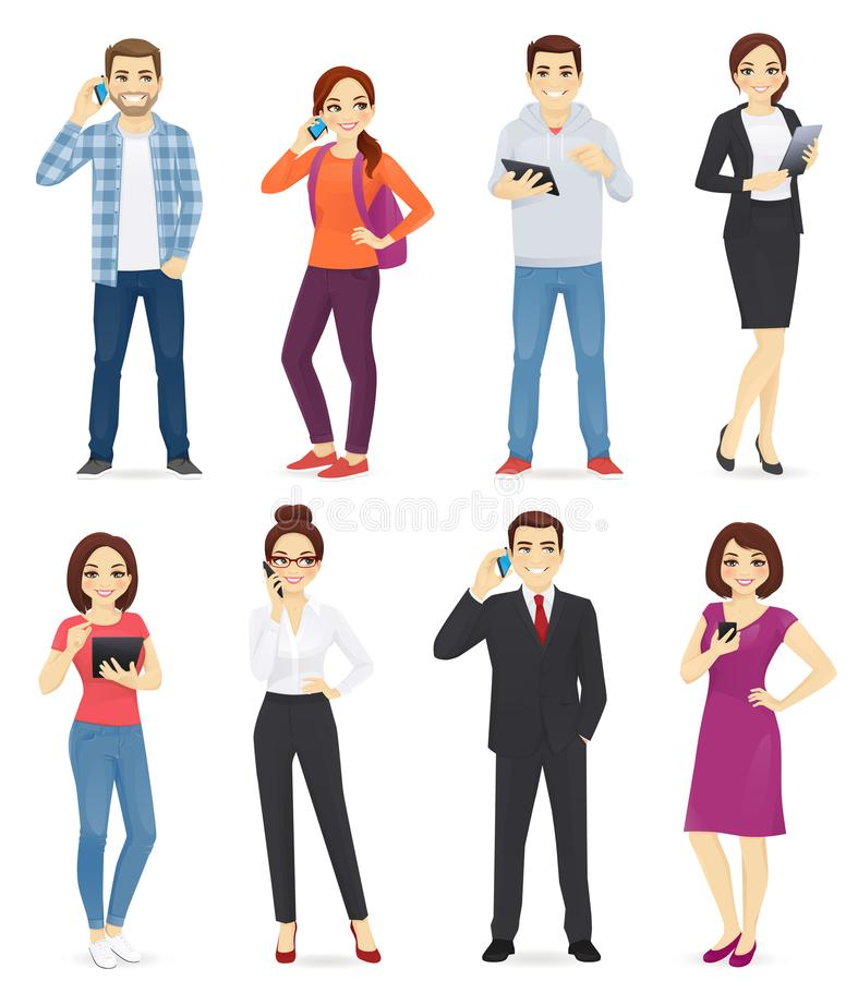 People with gadgets vector illustration
