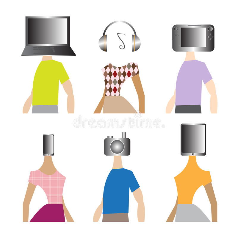 People gadgets technology stock illustration