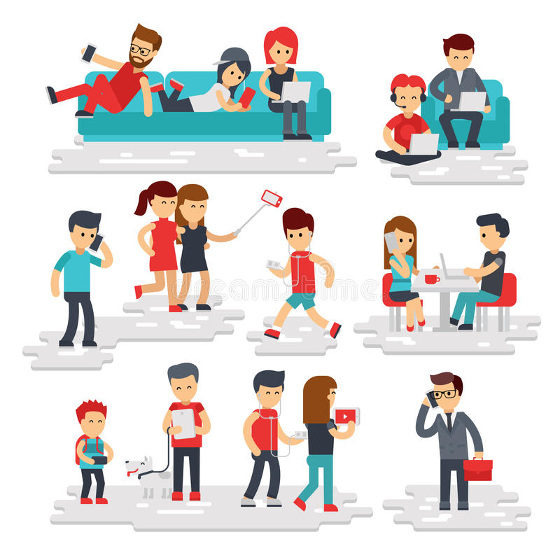 People with gadgets vector flat style isolated on white background. Men and women use phones, smartphones, tablets vector illustration
